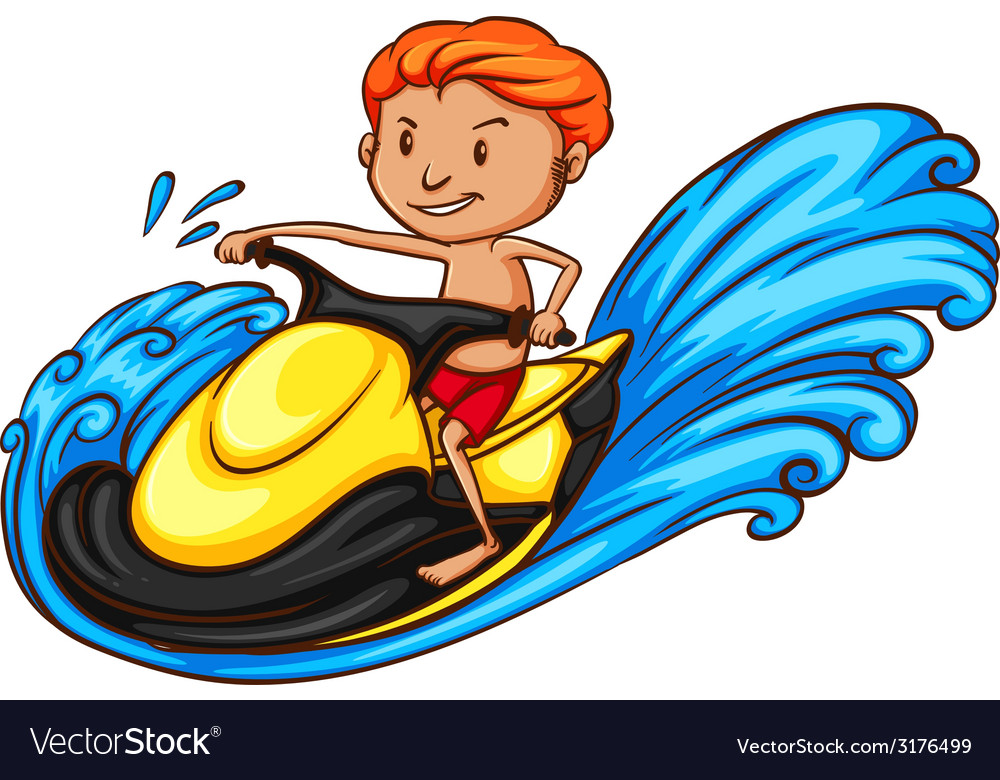 A sketch of a boy riding a water vehicle vector