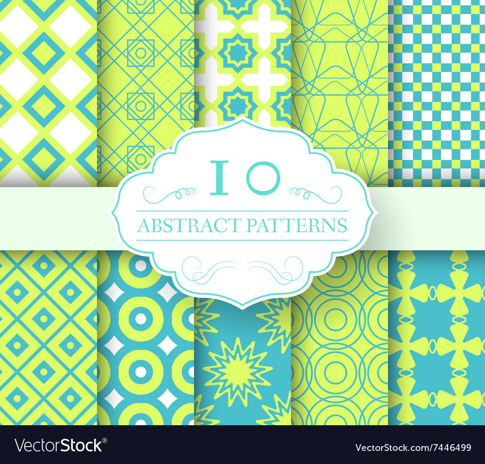 Collection set abstract swatches seamless pattern vector