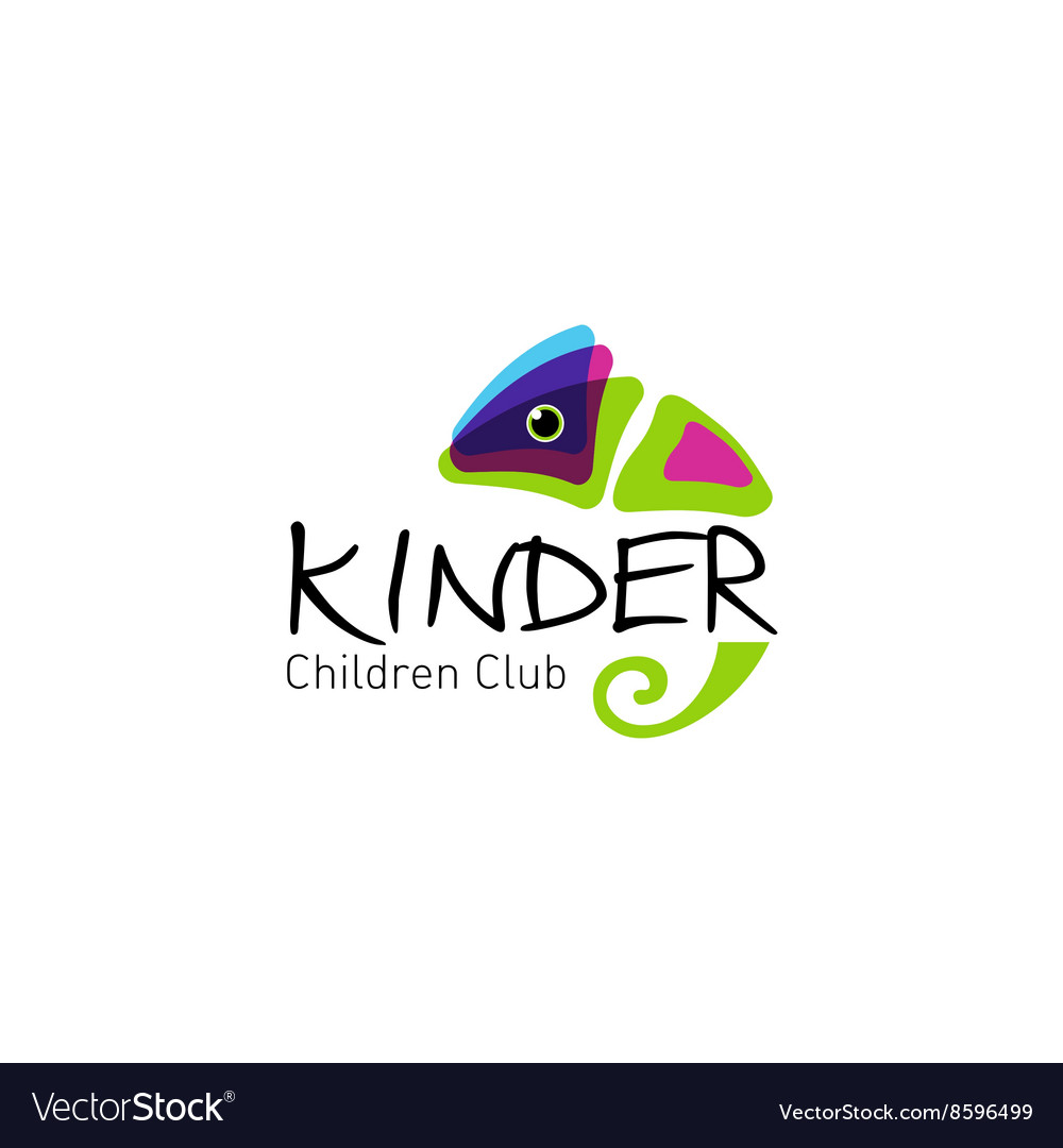 Kinder  logo children club with fun chameleon vector