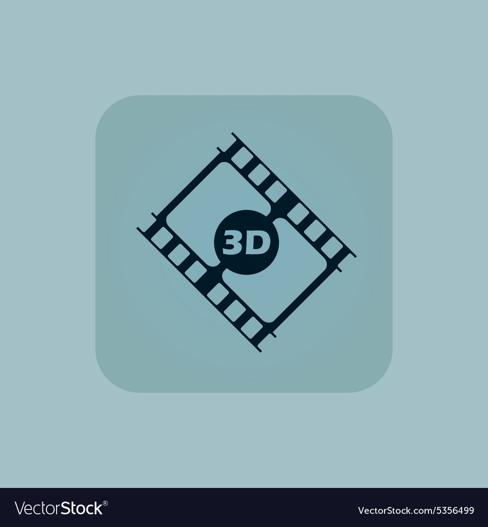 Pale blue 3d movie icon vector