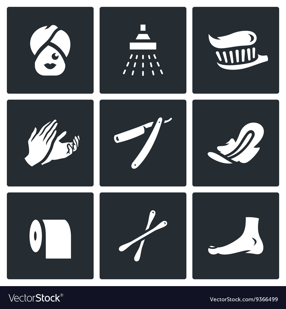 Set of hygiene icons woman shower teeth vector
