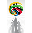 Raised hands Olympic globe icon vector image