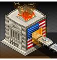 Isometric Stock Exchange Burning Dollars vector image vector image
