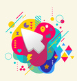 Cursor on abstract colorful spotted background vector image