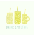 Three different mason jars with smoothie vector image