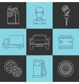 Outline set auto service icons vector image