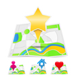 Maps with map markers vector image