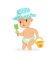 cute baby in a diaper playing with toy bucket and vector image