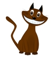 Cute brown cartoon cat smiling vector image