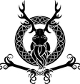Druid symbol with antlers in Celtic circle vector image
