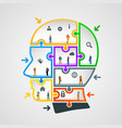 head of puzzles with workers vector image