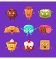 Happy Food Sweets And Sweet Pastry Cartoon vector image