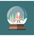 Christmas snow globe with Santa Claus inside Flat vector image