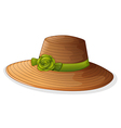A brown hat with a green ribbon vector image vector image
