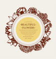 beautiful flowers - monochromatic hand drawn round vector image