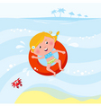 cute girl swimming in sea vector image