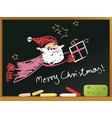 school blackboard with santa claus vector image