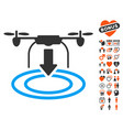 drone landing icon with lovely bonus vector image