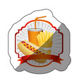 color emblem with hot dog fries french and soda vector image