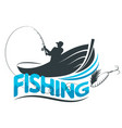 fisherman in a boat with a fishing rod vector image vector image