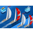 Isometric Sailships in Navigation vector image