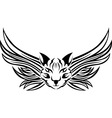 Head of cat with wings tattoo stencil vector image vector image