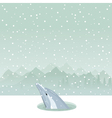dolphin from ice-hole vector image vector image