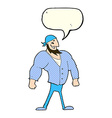 cartoon manly sailor man with speech bubble vector image