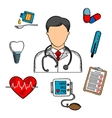 Sketched medical icons and doctor vector image vector image