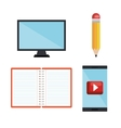 set technology education online dsign isolated vector image