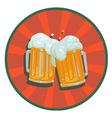 two mugs beer with foam vector image