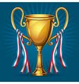 Golden award trophy and ribbon vector image vector image