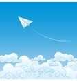Paper plane against sky with clouds vector image vector image