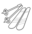 Skiing icon outline style vector image