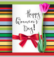 template greeting card with tulip and red bow vector image