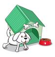 A cute pet outside the pethouse vector image vector image