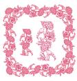 flower frame pink 3 380 vector image