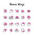beauty and fashion icon set woman things vector image