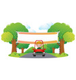boy driving red car on the road vector image
