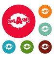 comic boom splash icons circle set vector image