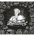 cooking hand drawn chef and the food vector image