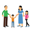 happy parents standing with their son and daughter vector image