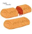pancakes with red caviar vector image