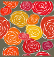 Vintage sketchy roses seamless background vector image