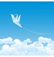 Paper origami crane against the blue sky vector image vector image