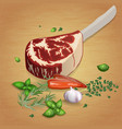 Prime rib with delicious sauces and spices vector image