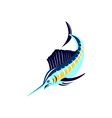 Sailfish Fish Jumping Retro vector image vector image