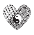 Hand drawn heart with Yin yang symbol vector image