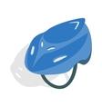 Blue bike helmet icon isometric 3d style vector image