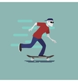 skilet character with sunglasses and cap vector image